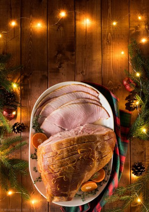 Christmas ham food photography