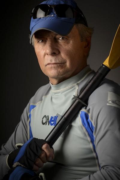 Portrait of old man kayaker