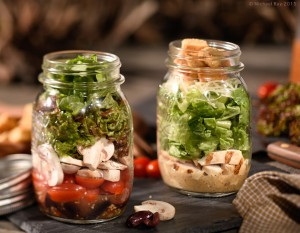 Salad in a jar food photography