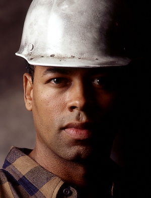 Industrial portrait for worker in hardhat