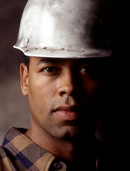 Industrial portrait for worker in hardhat