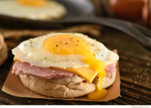 Pittsburgh food photographer shoots a ham cheese and egg muffin.